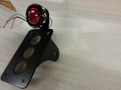 NEW! Vintage Drilled Black Tail light & vertical plate bracket