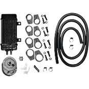 WideLine Chrome 10-row Vertical Frame-Mount Oil Cooler Kit